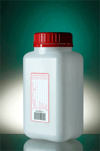 Square bottle 1L HDPE na graduated H187 Ø55, 20mg SODIUM THIO, label wh & tamper evident screw cap w