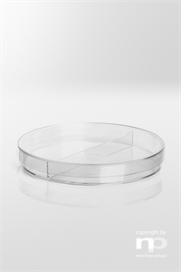 Petri dish PS  92x14,2 mm / with 3 vents, half division, Sterile